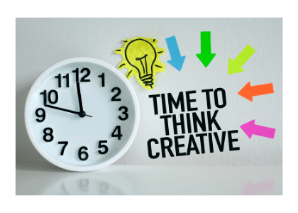 clock with ''time to think creative'' next to it with colorful arrows pointing to the writing