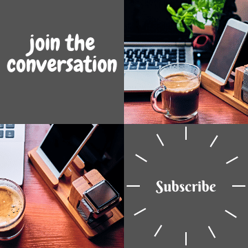 coffee mug on table with laptop, iPhone and smartwatch. join the conversation subscribe