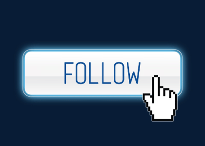 computer pointer touching a 'follow' button
