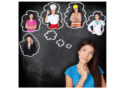 woman having thoughts about herself in different career fields: businesswoman, nurse, chef, construction worker, doctor