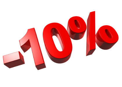 -10% red discount sign