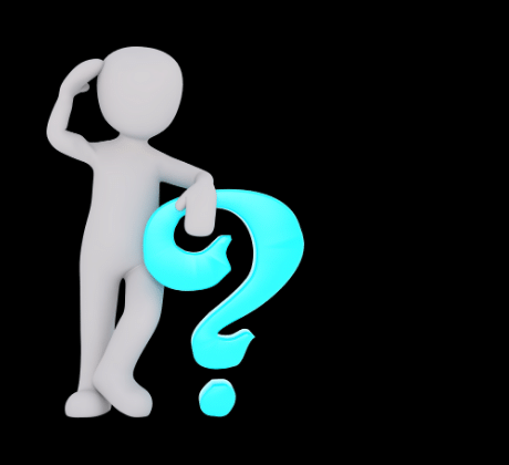 human figure scratching its head holding a question mark