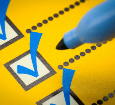 checklist being ticked off by a marker