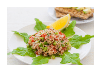 tuna salad on white plate