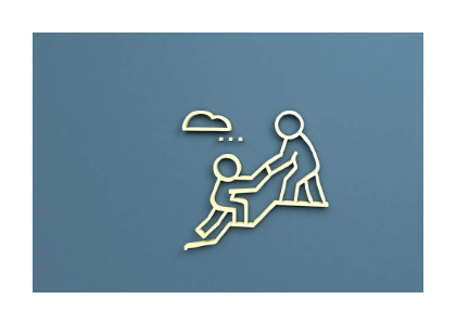 abstract figures climbing up a hill