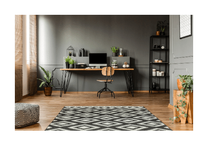 modern home-office space with desk and chair, laptop, and decorative pieces