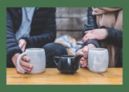 coffee table with mugs