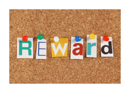 reward spelt on pin board with different coloured letters