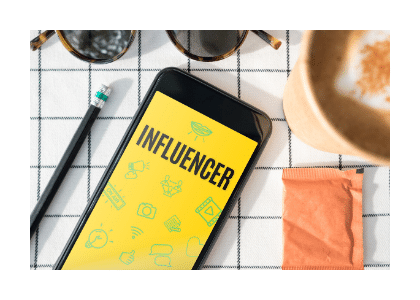 influencer typed on a phone screen