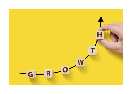 the word ''growth'' is being spelt out on an exponential curve