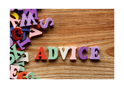 advice is spelt out using fridge magnet letters