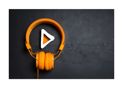 orange headphones and orange play button inside the headphones' loop