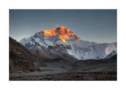 mount everest from a distance at dawn