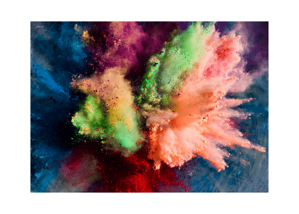 multi-colored powder exploding