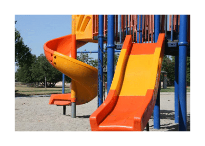children's playground slides, bright yellow and orange