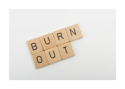 burn out written on wooden blocks