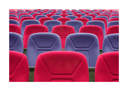 purple and red auditorium seating